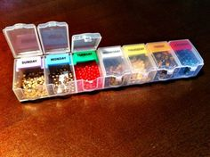 Separating beads by color in little bins is neater than storing them in plastic baggies. They will be right at your fingertips as soon as inspiration hits. See more at Dana Meyer Designs »