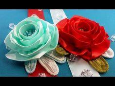 Ribbon rose:templates size/Rosa de la cinta:tamaño de plantillas/Розы из лент:варианты шаблонов - YouTube