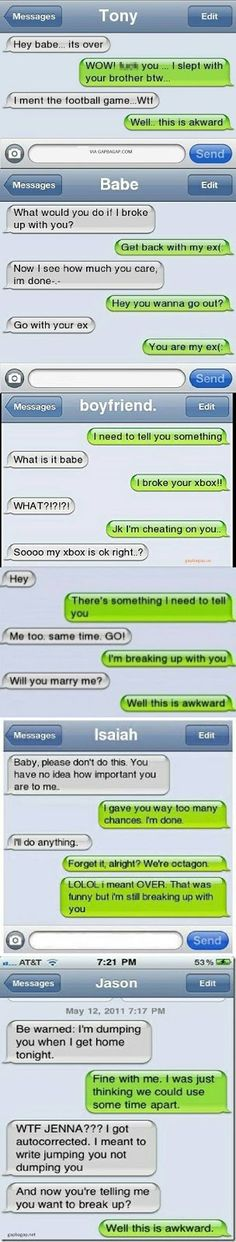 Top 6 Hilarious Breaking Up Text