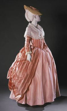 Robe à la française retroussée ca. 1765-80 Popular style with the women of the French Court prior to the French Revolution.   From the Philadelphia Museum of Art