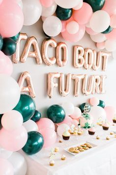 Fun balloon garland for girls' night going away party for a socially distanced backdrop Graduation Party Decor, Graduation Gifts, Bridal Shower Decorations, Wedding Decorations, Outdoor Bridal Showers, Mexican Fiesta Party, Going Away Parties, Shower Inspiration, Wedding Rentals