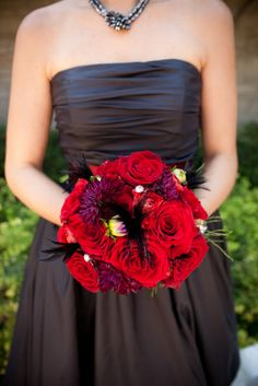 Bridesmaid flowers - red roses & feathers
