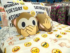 EMOJI Duvet Cover Set Single Double Bedding Primark Facial Expression Cushion