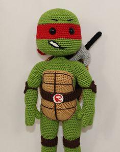 Ravelry: Teenage Mutant Ninja Turtle RAPHAEL pattern by ilknur Karaca Crochet Toys, Free Crochet, Amigurumi Patterns, Crochet Patterns, Crochet Turtle Pattern, Spiral Crochet, Ag Dolls, Teenage Mutant Ninja Turtles, Ravelry