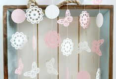 Pink and White Butterfly Doily 10 ft Paper Garland- Wedding Birthday Bridal Shower Baby Shower Party Decorations Garden Party #gardenPartyDecoration Scrapbooking Wedding Embellishments Decoration Bridal shower baby shower birthday paper garland party pink butterfly garland doily garland garden 10.00 USD FancifulChaos