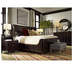*Vintage Originals Bedroom featuring Court Street Panel Bed (King) (Glazed Cordovan Finish with Highlights)