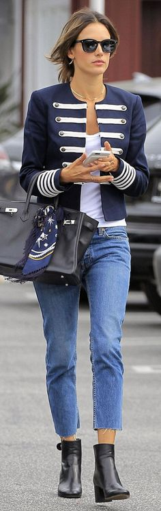Alessandra Ambrosio in Jacket – Tommy Hilfiger Purse – Hermes Shoes – Gianvito Rossi