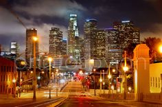 Los Angeles Skyline NIGHT View from East LA 8 x by cowtownphotog