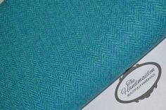 HARRIS TWEED FABRIC & LABELS turquoise blue herringbone 100% wool material quilt in Crafts, Fabric | eBay