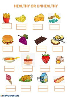 Healthy And Unhealthy Food, Healthy Eating For Kids, Healthy Eating Schedule, Worksheets For Kids, Printable Worksheets, Food Vocabulary, Food Pyramid, Eat The Rainbow, Group Meals