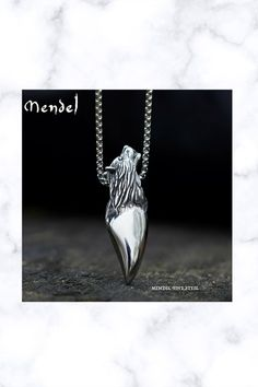 Stainless Steel Fenrir Wolf Head Tooth Pendant Necklace