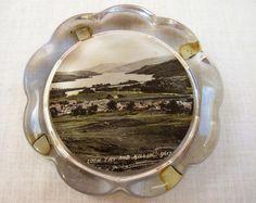 VINTAGE 1920's SOUVENIR GLASS PAPERWEIGHT - LOCH TAY & KILLIN STIRLING SCOTLAND