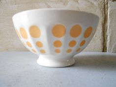 Lovely French cafe au lait bowl with yellow polka by Birdycoconut