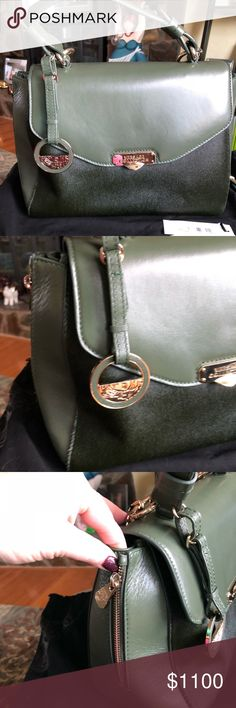 """🆕listing. Versace green handbag. New with tags.  Calf hair front. Italian leather. Removable strap.  A statement bag!!  Has the duster and tags.  ions:  10"""" High x 12"""" Wide x 5.5"""" Deep x 14.5"""" shoulder strap drop. Versace Bags Shoulder Bags"""