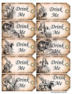 DRINK ME   Alice in Wonderland printable gift Hang by KatarinaArt