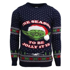 Official Star Wars Master Yoda Christmas Jumpers for Men Or Women – Ugly Novelty Gifts Xmas Jumper – Unisex Premium Knitted Sweater Design – Officially Licensed Disney Long Sleeve Sweater Top Blue Funny Christmas Jumper, Best Christmas Jumpers, Funny Christmas Outfits, Xmas Jumpers, Knitted Christmas Jumpers, Christmas Humor, Christmas Trends, Christmas Clothes, Christmas Fashion