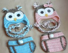 ADORABLE owl hat & diaper cover. Also some good gender reveal party ideas.