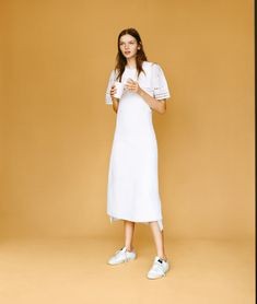 This White Shirt Dress From J.Crew Feels Like a Steal   Vogue Matteo Montanari, Basic Outfits, Teen Vogue, Fashion Fabric, All White, Color Patterns, Hue, White Dress, Womens Fashion