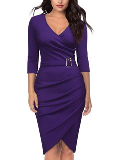 04ad463414 Knitee Women s 3 4 Sleeve V-Neck Pleated Office Evening Nightout Cocktail  Party Bodycon