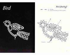Bird (Starling) with tatting pattern diagram