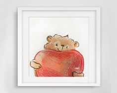 Woodland Animals, Nursery Decor, Baby Shower Gift, Custom Name, Bear watercolor painting, Nursery Art, New Baby Gift, First Anniversary.
