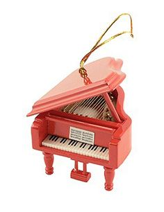 Make sure your tree shows off your love of music  This ornament is a red grand piano with incredible detail  This ornament has a full keyboard with pedals and strings under the top.