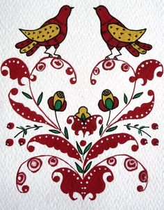 Folk Puchug painting from Northern Russia. A pattern with two birds. #folk #art…