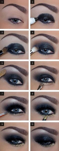 Beautiful dark and elegant eye shadow look with dark blue and glittery gold. Marvelous.