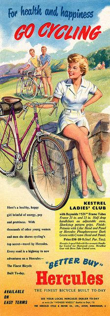 Hercules Bicycles advertisement. Apparently it's good for your legs, too!