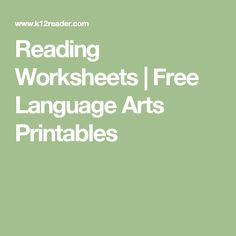 offers printable worksheet activities for all major elements of language arts, with more added all the time. You'll find something from kindergar Reading Worksheets, Printable Worksheets, Printable Art, Printables, My Father's World, Home Schooling, Teaching Reading, Comprehension, Language Arts