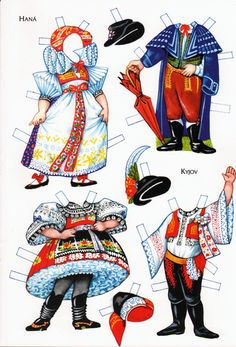 This artist does wonderfully detailed work. Really knows his/her folk costumes. Paper Dolls Shoes, Fabric Dolls, Paper Toys, Paper Crafts, History Of Paper, Paper Doll Costume, World Thinking Day, Vintage Paper Dolls, Retro Toys