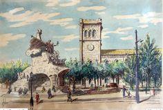 foto antiga de la plaça Universitat, el monument ja no hi es.
