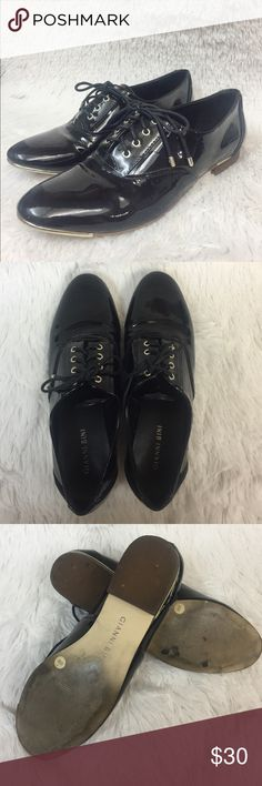 Black Gianni Bini Lacquer Oxfords Excellent pre worn condition. Fourth picture shows the left shoe with some wear. Price reflects that. Please no trades. Bundle for additional discounts. Gianni Bini Shoes
