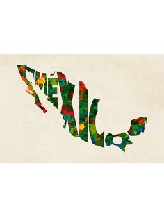 'Mexico Typographic Watercolor Map' Sticker by A Deniz Akerman Mexico Flag, Mexico Art, Mexican Restaurant Decor, Mexico Wallpaper, Mexico People, Mexican Art Tattoos, Mexican Paintings, Urban Ideas, Frida Art