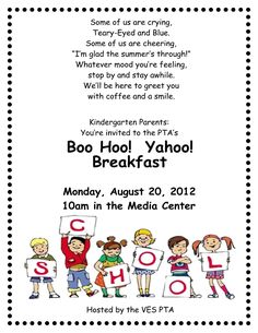 "I love the poem on this flier... Thinking of hosting something like this for Amelia's first day of school... I am definately going to ""boo hoo!"" :("
