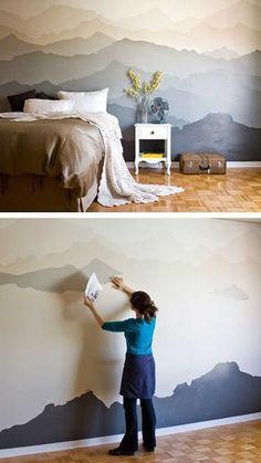 Gebirgewand Im Schlafzimmer Zum Selbstgestalten. Tolle Idee Wie Man Mit  Wenig Geld Die Wände Gestalten Kann.