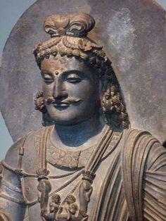 Bodhisattva Maitreya Kushan period 2nd-3rd century CE from the ancient region of Gandhara Pakistan Schist.  Asian Art Museum of San Francisco, CA.