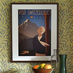 Original Design A3 A2 A1 Art Deco Bauhaus Poster Print Vintage Visit Switzerland Winter Ski Holiday Snow Mountains Swiss Alps 1920's Vogue