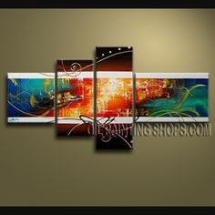 Enchanting Modern Abstract Painting Hand-Painted Art Paintings For Living Room Abstract. This 4 panels canvas wall art is hand painted by V.Chua, instock - $138. To see more, visit OilPaintingShops.com
