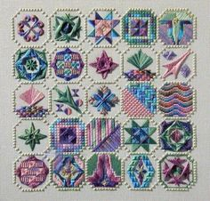 Variety of stitches textures and layers