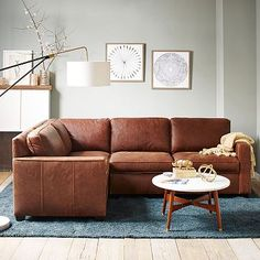 Superbe Hamilton Set 1: Right Arm Loveseat + Left Arm Chaise, Leather, Sienna |  Living Rooms, Room And Leather Sofas