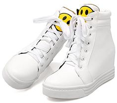 51bf99d4afa3 Summerwhisper Womens Trendy Smiling Face Ankle Boots Heighten Inside Laceup  Platform High Top Sneakers White 45
