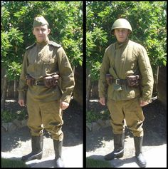 1943-1945 Soviet Red Army enlisted infantrymen's summer field uniform (left) and winter field uniform (right).