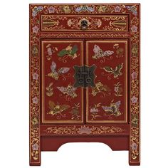 Nine Schools Classic Chinese Red Butterfly 2 Door 1 Drawer Cabinet A Chinese Furniture, Oriental Furniture, Chinese Cabinet, Red Cabinets, How To Store Shoes, Oriental Design, Oriental Style, Small Cabinet, Red Butterfly