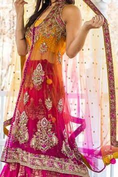 Pink Yellow Jacket Lehenga I would wear this if I was Indian ! Indian Bridal Wear, Indian Wedding Outfits, Pakistani Outfits, Indian Wear, Indian Outfits, Indian Style, Wedding Dress, Jacket Lehenga, Desi Clothes