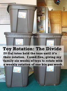 Toy rotation brilliance- rather than keeping out every.single.toy, rotate with this handy-dandy system. Via While He Was Napping: {Project GO-FO} Toy Rotation - Step Two: The Divide