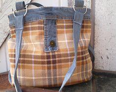 Gold & Brown Plaid Denim Purse - Upcycled, Recycled, Repurposed, Salvaged Handmade Original