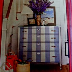 Purple and white striped dresser from BHG magazine.