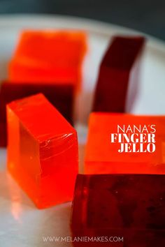 Nana's Finger Jello is possibly the easiest - and ask my menagerie, the most delicious! - thing to come out of my kitchen. Any dessert that takes just five minutes and three ingredients to prepare is a winner in my book. #jello #gelatin #easyrecipe #easydesserts #kids #children