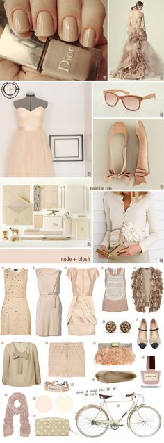 nude: 1. photo via Dior nail polish in Nude Chic 2. my fave place for inspiration these days- Pinterest 3. Komono wood glasses 4. peach tutu 5. J.Crew girls flats 6. Kontor Kontur media 7. Emersonmade flower 8. nude embellished dress 9. Theory dress 10. Camilla and Marc dress 11. River Island crochet tank 12. looped vest 13. Urban Outfitters dome studs 14. Marais flats 15. sheer blouse 16. Markus Lupfur beaded shorts 17. ASOSfeather clutch 18. Scotch - Heather Blush nail polish 19. Alexander…